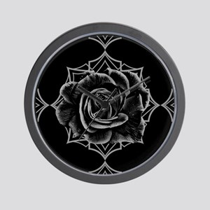 Black Rose On Gothic Wall Clock