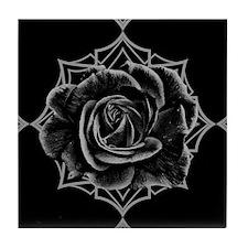 Black Rose On Gothic Tile Coaster