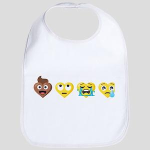 Emoji Anti-Love Faces Cotton Baby Bib