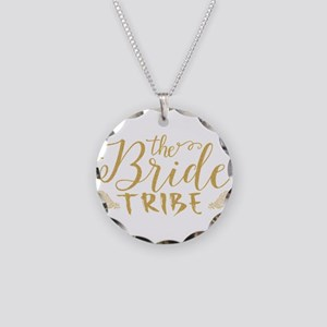 The Bride tribe Gold Glitter Necklace Circle Charm