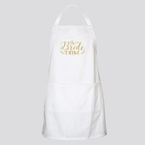 The Bride tribe Gold Glitter Modern Text Des Apron