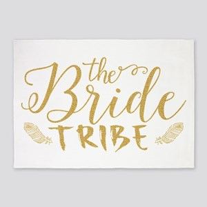 The Bride tribe Gold Glitter Modern 5'x7'Area Rug