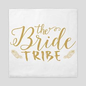 The Bride tribe Gold Glitter Modern Te Queen Duvet