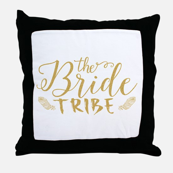 The Bride tribe Gold Glitter Modern T Throw Pillow