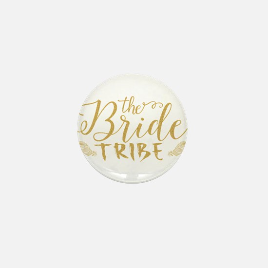 The Bride tribe Gold Glitter Modern Te Mini Button
