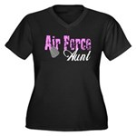 Air Force Aunt Women's Plus Size V-Neck Dark T-Sh