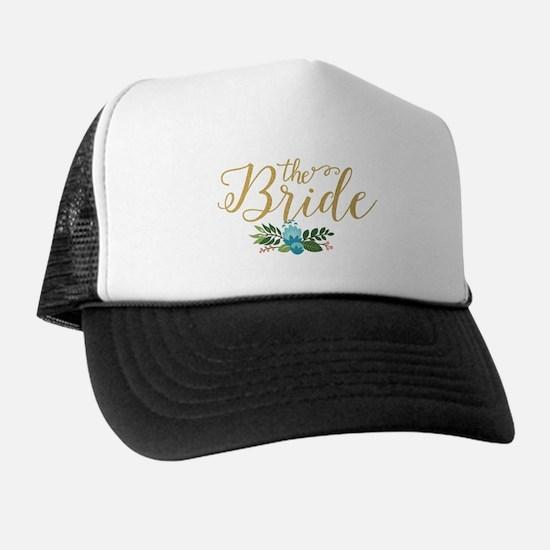 The Bride-Modern Text Design Gold Glit Trucker Hat