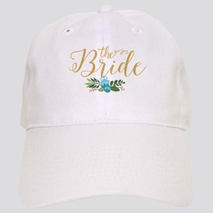 The Bride-Modern Text Design Gold Glitter & Fl Cap