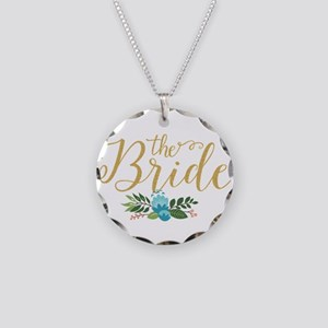 The Bride-Modern Text Design Necklace Circle Charm