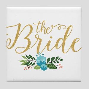 The Bride-Modern Text Design Gold Gli Tile Coaster