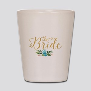 The Bride-Modern Text Design Gold Glitt Shot Glass