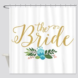 The Bride-Modern Text Design Gold G Shower Curtain