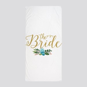 The Bride-Modern Text Design Gold Glit Beach Towel