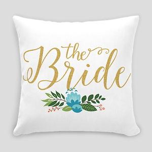 The Bride-Modern Text Design Gold Everyday Pillow