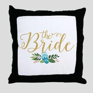 The Bride-Modern Text Design Gold Gli Throw Pillow