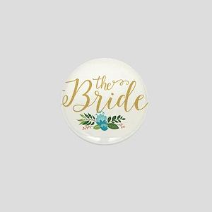 The Bride-Modern Text Design Gold Glit Mini Button