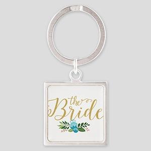The Bride-Modern Text Design Gold Glitte Keychains