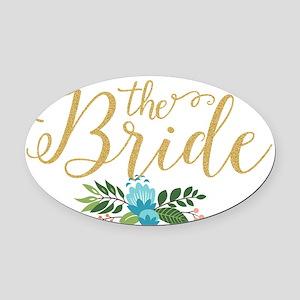 The Bride-Modern Text Design Gold Oval Car Magnet