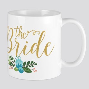 The Bride-Modern Text Design Gold Glitter & F Mugs