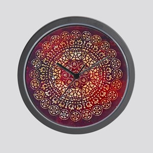 Crimson and Gold Mandala Wall Clock
