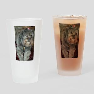 Kona Lhasa type dog up close lookin Drinking Glass
