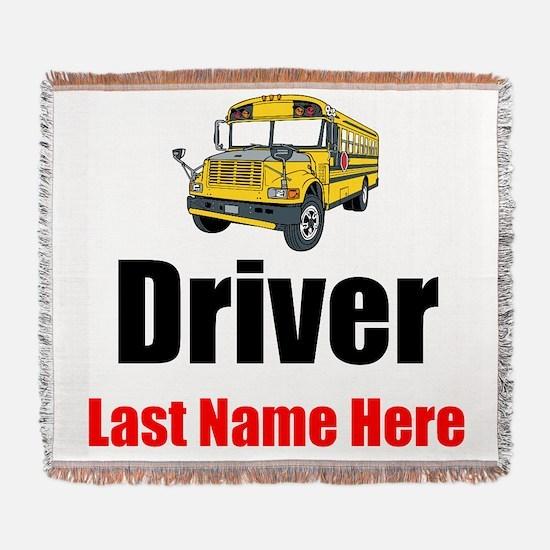 School Bus Driver Woven Blanket