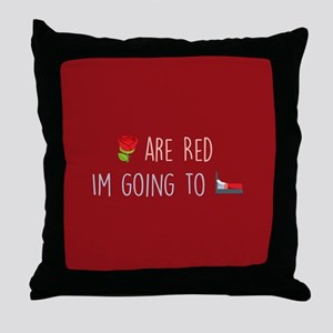 Emoji Roses Going to Bed Throw Pillow