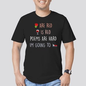 Emoji Roses Wine Bed Men's Fitted T-Shirt (dark)
