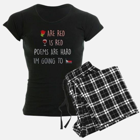 Emoji Roses Wine Bed Pajamas