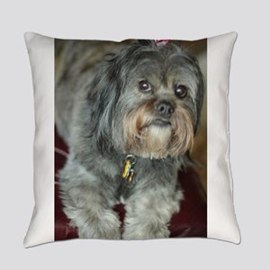 Kona Lhasa type dog up close looki Everyday Pillow