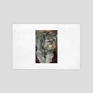 Kona Lhasa type dog up close looking s 4' x 6' Rug