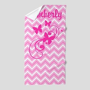 Pink Chevron Butterflies Beach Towel