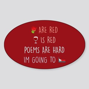 Emoji Roses Wine Bed Sticker (Oval)
