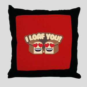 Emoji I Loaf You Throw Pillow