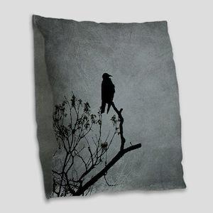Majestic Crow Burlap Throw Pillow