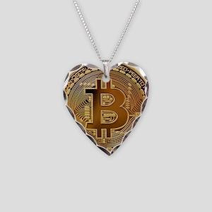 Bitcoin Logo Symbol Design Ic Necklace Heart Charm