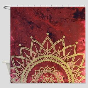 Crimson and Gold Mandala Shower Curtain