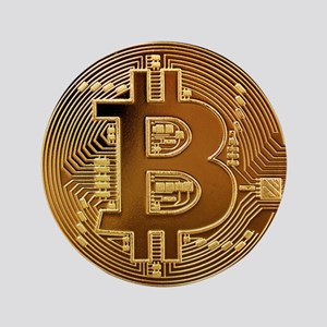"""Bitcoin Logo Symbol Design Icon 3.5"""" Button"""