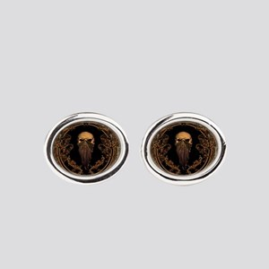Amazing skull on a frame Oval Cufflinks