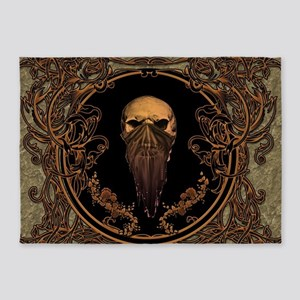 Amazing skull on a frame 5'x7'Area Rug