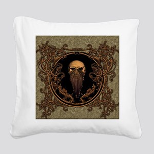 Amazing skull on a frame Square Canvas Pillow