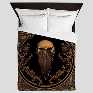 Amazing skull on a frame Queen Duvet