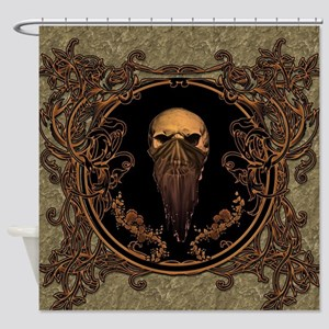Amazing skull on a frame Shower Curtain