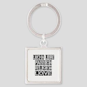 Lucha Libre Passion Religion Love Square Keychain