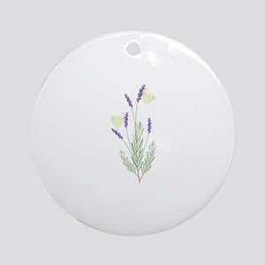 Lavender Butterfly Round Ornament