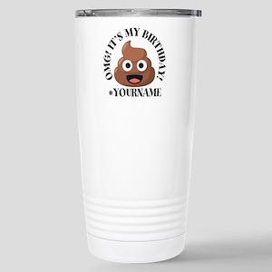 Poop Emoji Birthd 16 oz Stainless Steel Travel Mug