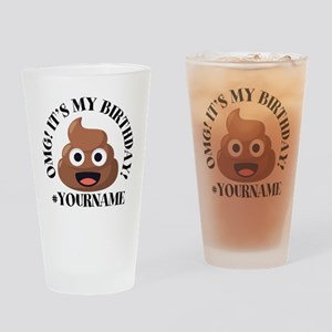 Poop Emoji Birthday Drinking Glass