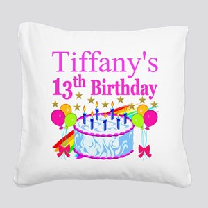 PERSONALIZED 13TH Square Canvas Pillow