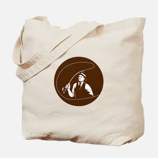 Mobster Gangster Fly Fisherman Circle Retro Tote B