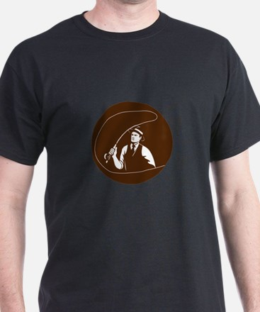 Mobster Gangster Fly Fisherman Circle Retro T-Shir
